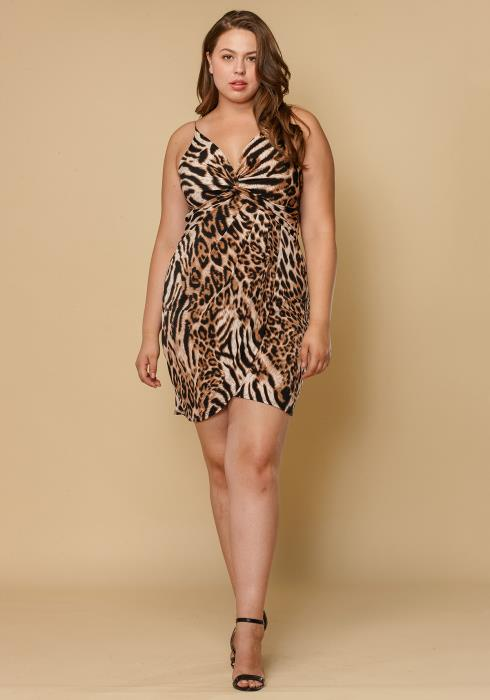Asoph Plus Size Leopard Print Dress Women Clothing