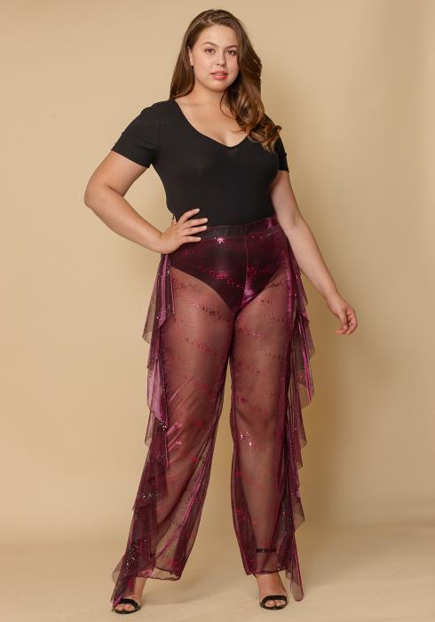 Asoph Plus Size Ruffle Trim Sheer Women