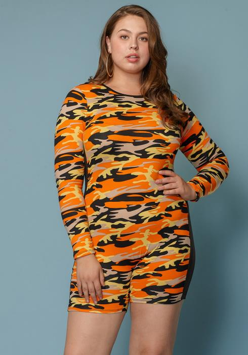 Asoph Plus Size Camo Print Romper Women Clothing