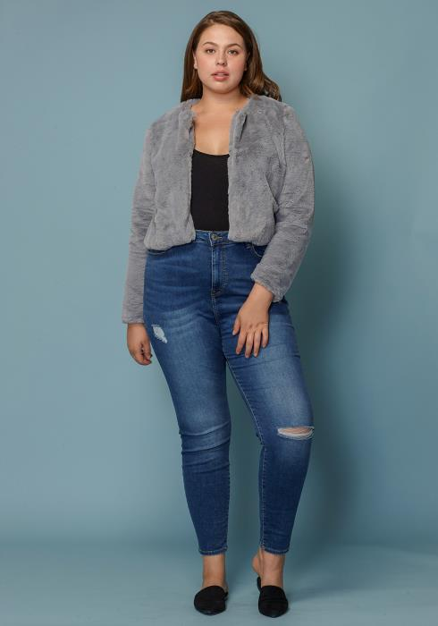 Asoph Plus Size Cropped Faux Fur Women