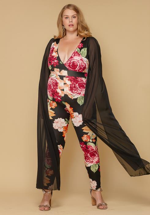 Asoph Plus Size Cape Floral Jumpsuit Women Clothing