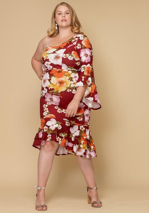 Asoph Plus Size One Shoulder Floral Women