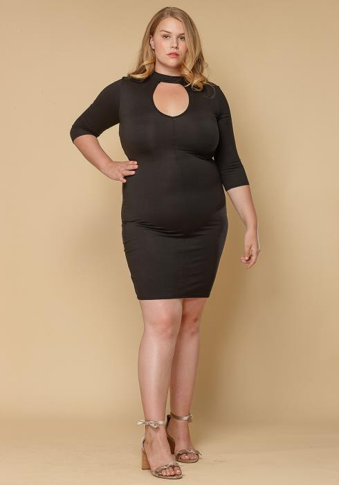 Asoph Plus Size Keyhole Choker Bodycon Dress Women Clothing