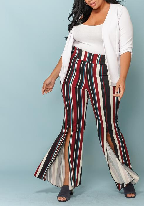 Asoph Multi-Stripe Slit Plus Size Pants Women Clothing