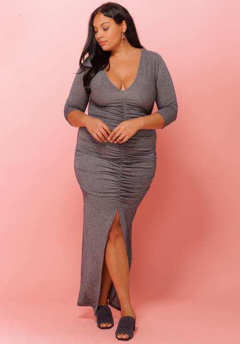 Asoph Plus Size Ruched Split Maxi Party Dress Women Clothing