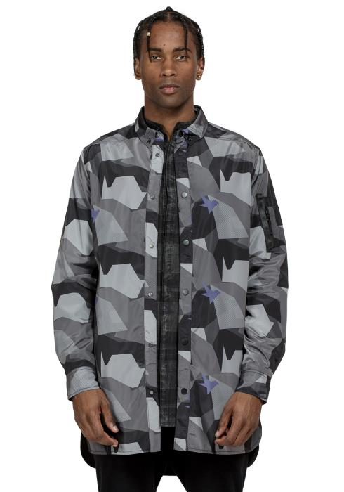 CAMO PRINTED LONG SHIRT JACKET