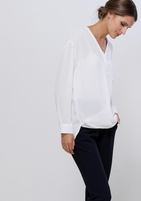 Ro&De Noir V-Neck Wrap Hem Blouse Women Clothing