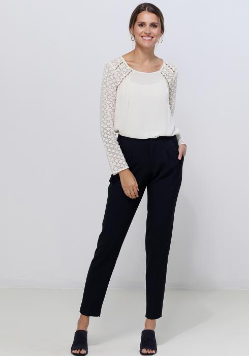 Ro&De Noir Lace Contrast Top Women Clothing