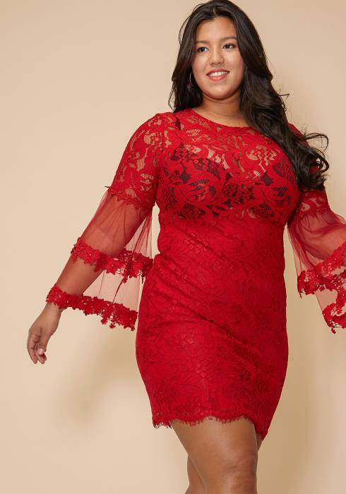 Asoph Lace Bell Sleeve Plus Size Dress