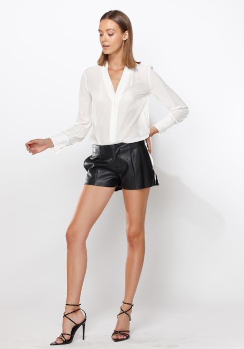 Ro&De Noir Leather Shorts Women Clothing