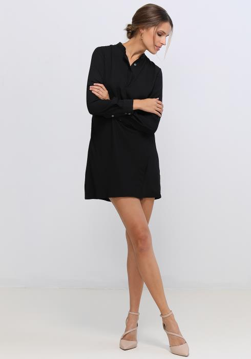 Ro&De Noir Stand Collar Wrap Dress Women Clothing