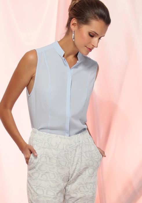 Ro&De Noir Stand Collar Sleeveless Blouse Women Clothing