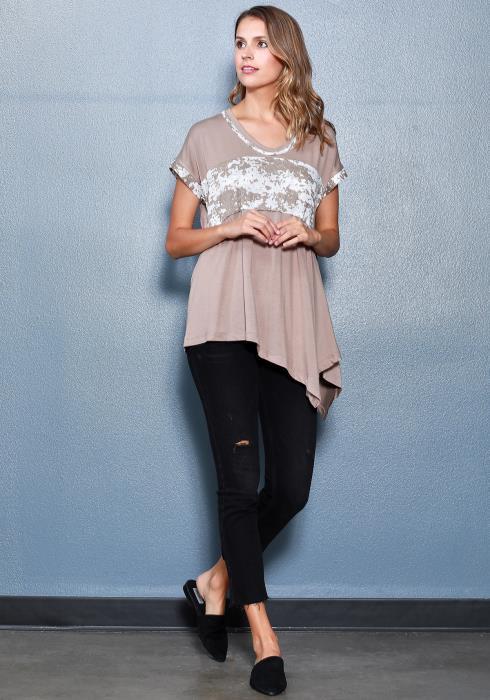 Ro&De Noir Asymmetrical Tee Women Clothing