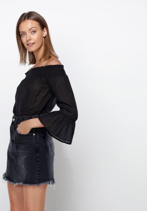 Ro&De Noir Smocked Off Shoulder Top Women Clothing
