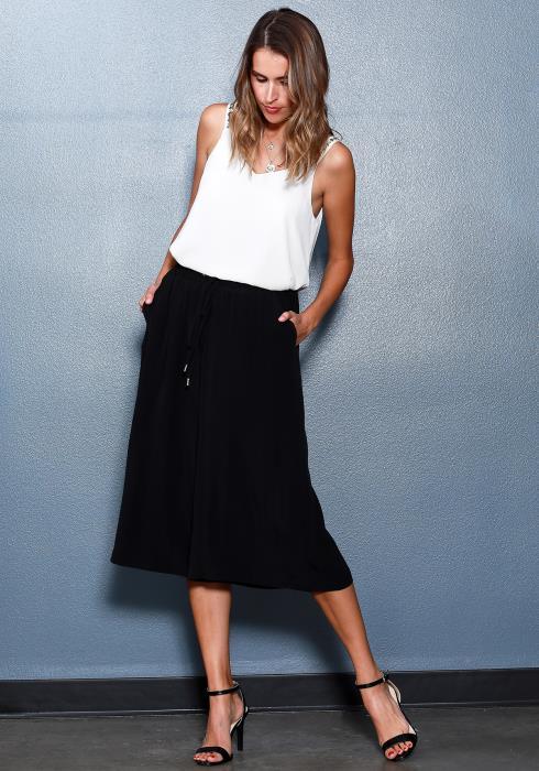 Ro&De Noir Wide Leg Capri Women Clothing