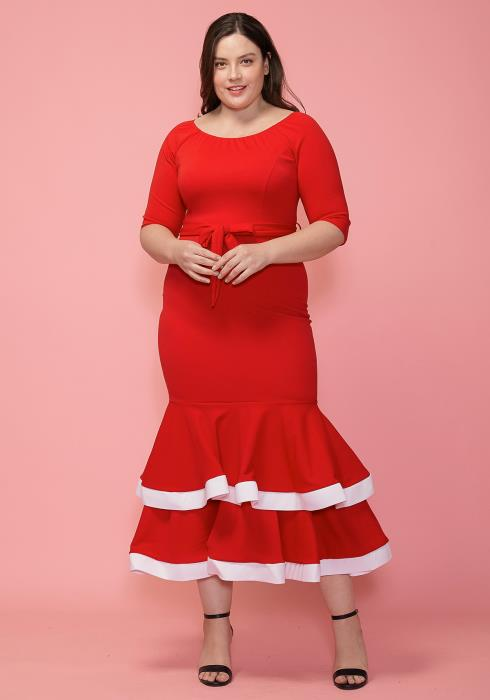 Asoph Plus Size Ruffle Maxi Dress