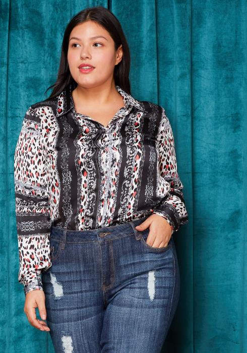 Asoph Plus Size Exotic Long Sleeve Button Up