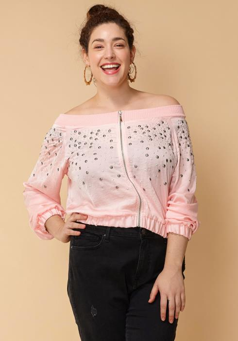 Asoph Women Clothing Plus Size Silver Studded Off Shoulder Zip Up Top