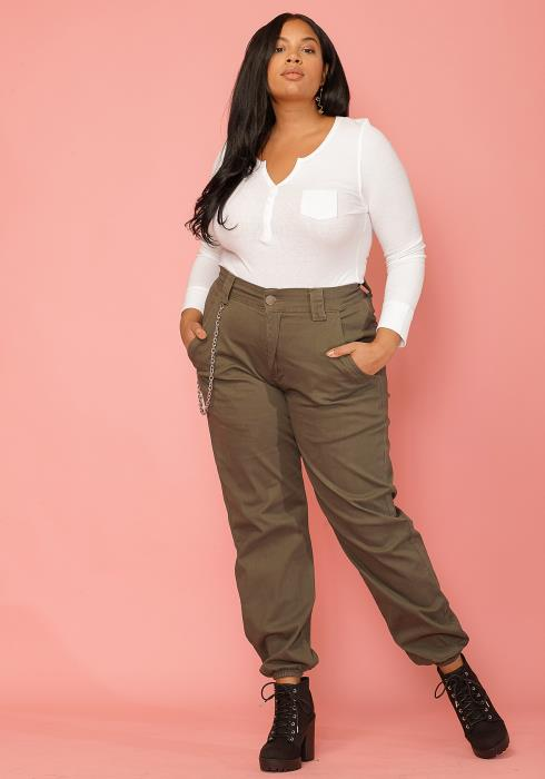 Asoph Women Clothing Plus Size Chained Cuffed Pants