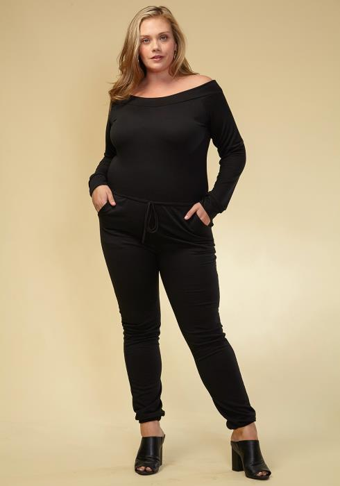 Asoph Plus Size Off The Shoulder Jumpsuit