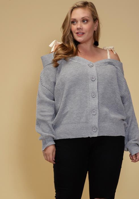 Asoph Plus Size Off Shoulder Button Up Cardigan Women Clothing