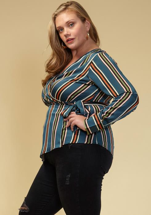 Asoph Plus Size Women Clothing Striped Cross Tie V-Neck Blouse