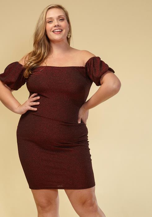 Asoph Plus Size Off Shoulder Puff Sleeve Dress Women Clothing