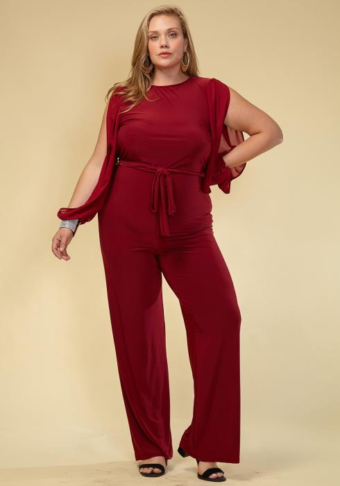 Asoph Plus Size Women Clothing Slit Sleeve Jumpsuit