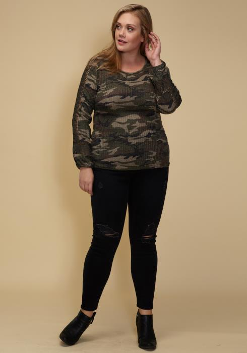 Asoph Plus Size Camo Print Ribbed Longsleeve