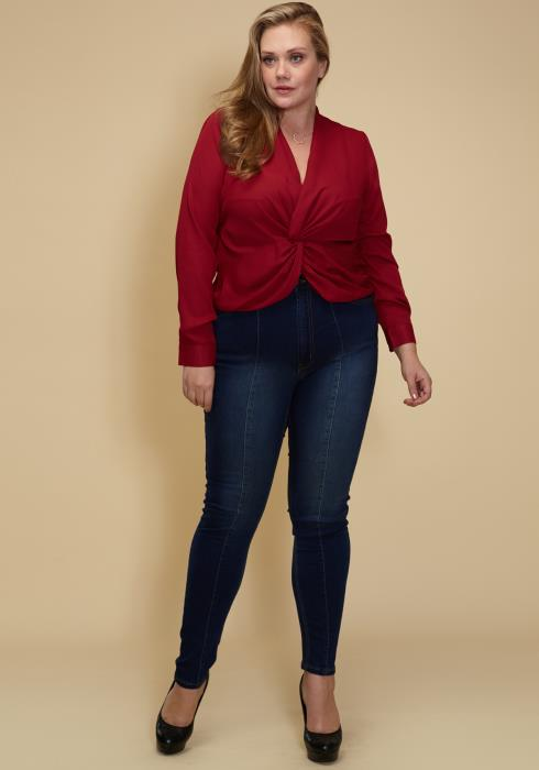 Asoph Plus Size A Twisted Front Top