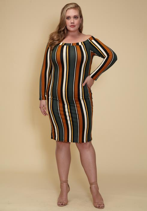 Asoph Plus Size Womens Off Shoulder Stripe Dress