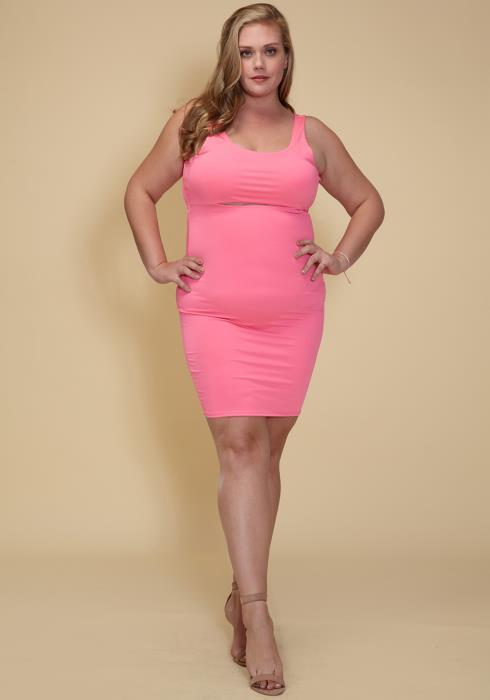 Asoph Plus Size Cut Out Font Sleeveless Bodycon Club Dress