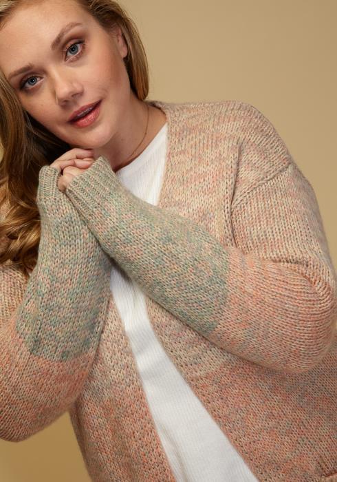 Asoph Plus Size Pastel Long Sleeve Open Front Cozy Cardigan