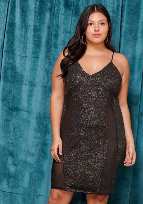 Asoph Plus Size Sexy Sheer Mesh Tank Dress