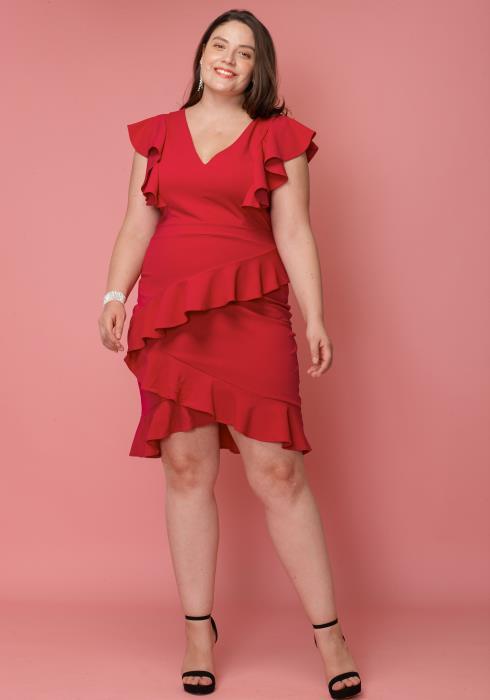 Asoph Plus Size Ruffle V-Neck Party Dress