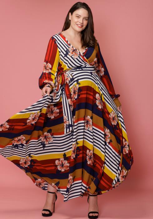 Asoph Plus Size Floral Bloom Maxi Empire Dress