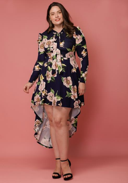 Asoph Plus Size Tie Neck Hi-Lo Ruffle Floral Dress