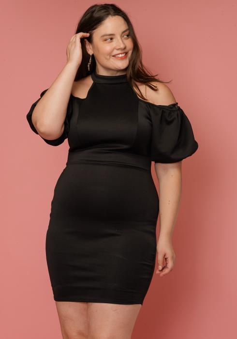 Asoph Plus Size Open Shoulder Mock Neck Cocktail Dress