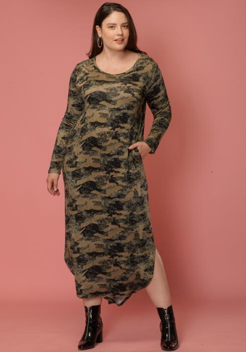 Asoph Plus Size Camo Print Long Sleeve Maxi Dress