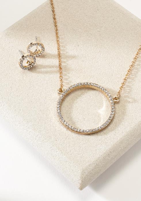 Round Cubic Necklace & Stud Set