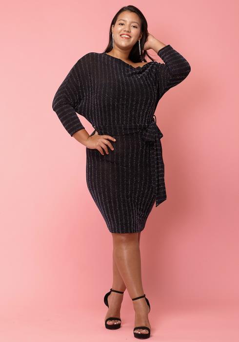 Asoph Plus Size Sparkling One Shoulder Dress