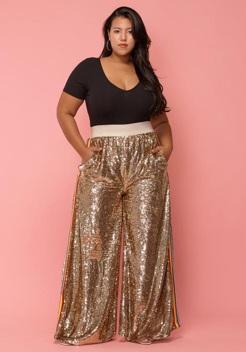 Asoph Plus Size Sequined Flared Leg High Waist Pants