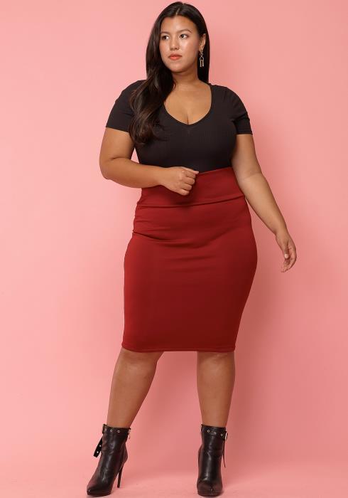 Asoph Plus Size Simple Me High Waist Skirt