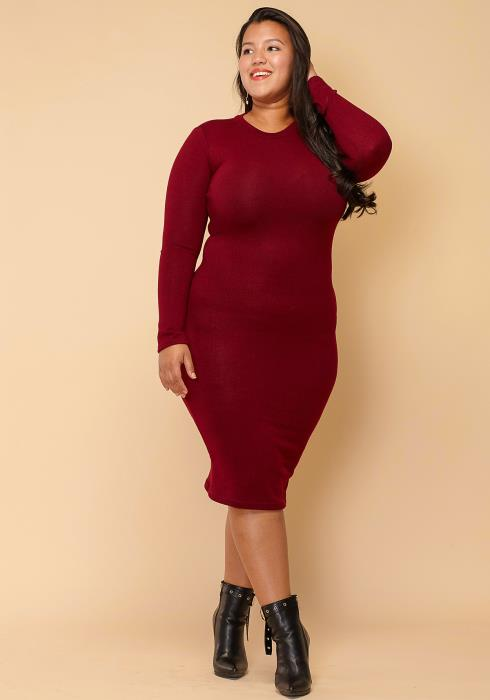 Asoph Plus Size Safari Midi Sweater Dress