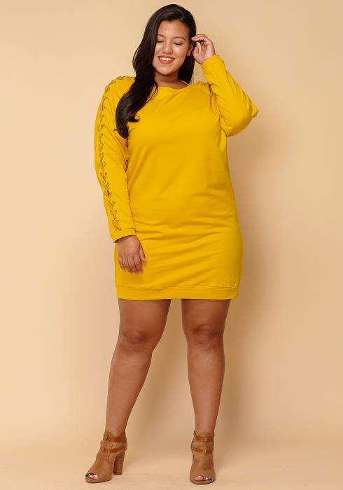 Asoph Plus Size Lace Sleeve Midi Shirt Dress
