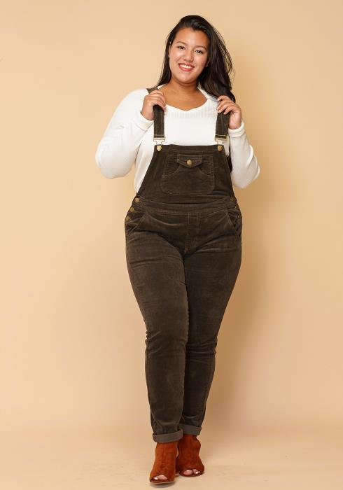 Asoph Plus Size Corduroy Skinny Fit Overall
