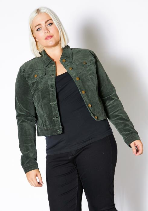 Asoph Plus Size Corduroy Button Up Jacket