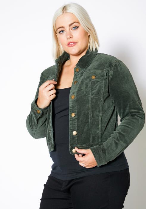 Asoph Plus Size Corduroy Button Up Jacket
