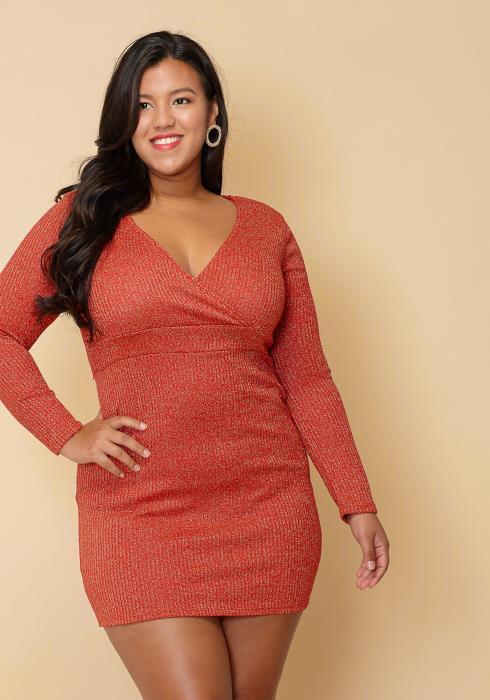 Asoph Plus Size Dazzling Empire Waist Mini Club Dress