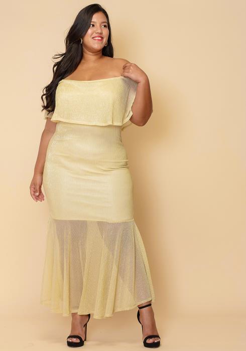 Asoph Plus Size Sheer Pleated Chiffon Layered Off Shoulder Maxi Dress